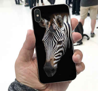 Are you an anima lover? especially a zebra?. If yes you would love to decorate your phone with this black and white Zebra picture iPhone sticker.