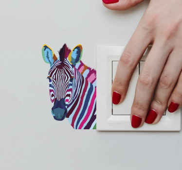 Zebra pop art light switch sticker to give a lovely and colorful zebra presence on your switch space. It is original, durable and easy to apply.