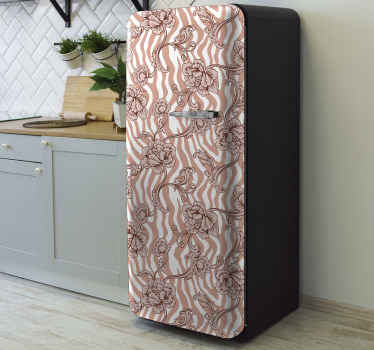 Decorate your fridge door surface with this Zebra print and ornamental flowers coral  fridge decals and love your fridge space even more.