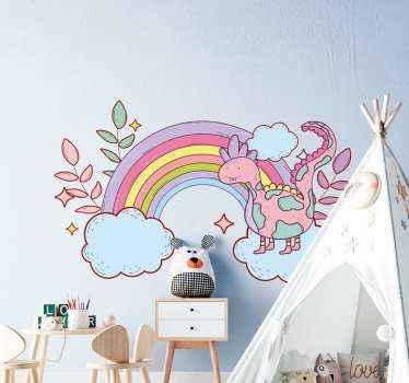 ¿A tu hijo le encantan los cuentos de hadas? Si es así, entonces puedes decorar la habitación con este vinilo infantil de dinosaurio con arcoíris