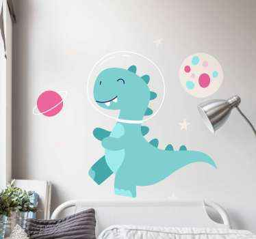 Lovely and colorful illustration decal of dinosaur in space. Suitable to decorate the room of children and it is easy to apply and removable.