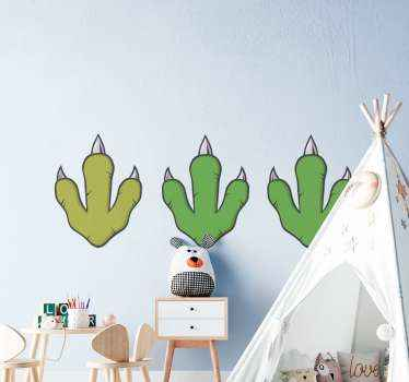 Cute green dinosaur footprint stickers to decorate any flat surface. A design for lovers of extinct dinosaurs and its application is really simple.
