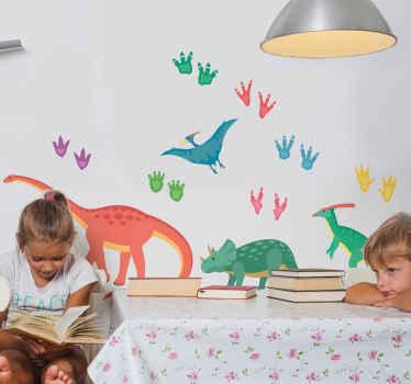Jos lapsesi rakastaa dinosauruksia ja jalanjälkitarroja ja on syntymäpäivä tai joulu, tämä seinäsiirtokuva on hyvä vaihtoehto lahjaksi sen koristeluun.