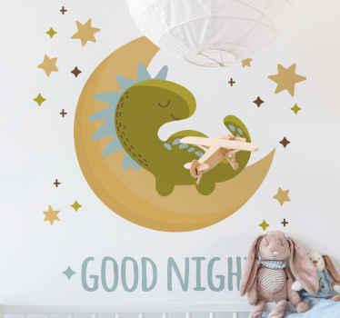 Décorez la chambre de votre enfant ou de votre chambre d'enfant avec ce joli et mignon dinosaure illustratif dormant sur la lune.. Facile à appliquer et amovible.