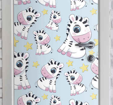 Suitable children bedroom door sticker with design of cute Zebra and stars. It is original, durable and easy to apply with the use of spatula.