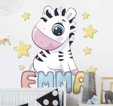 Vinilo decorativo para niñas de cebra bebé rodeado de estrellas con el nombre de cebra para sorprender a su hija ¡Envío exprés!