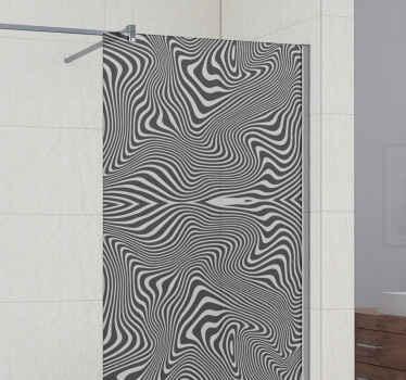 Un magnífico vinilo para mamparas con efecto 3d para decorar la puerta de la ducha. Un diseño de patrón de cebra en blanco y negro