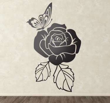 Elegant floral wall sticker to decorate your home or business. Lovely monochrome flower sticker for bringing some colour and nature to your walls, available in various colours and sizes. This beautiful wall sticker shows a rose with a butterfly sitting on it.