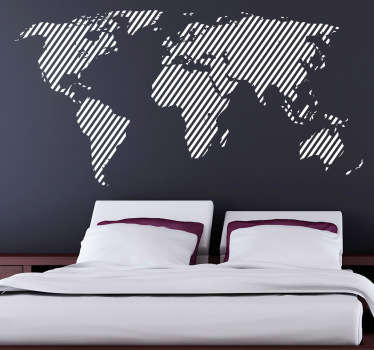 World Map Wall stickers - Unique design of world map with a diagonal line pattern. A modern decal that is available in up to 50 colours and various sizes.