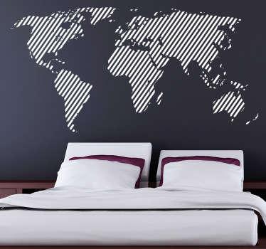 Diagonal Lines World Map Wall Sticker