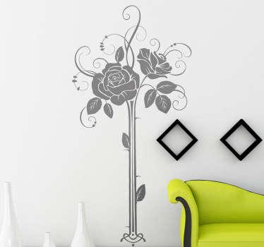 Autocollant mural floral vase rose