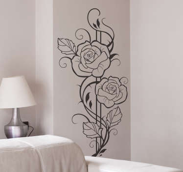 autocollant mural floral roses modernistes