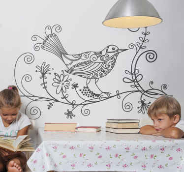 Bird Decals - Beautiful Illustration of a nightingale bird resting on branch with floral design around it. Bird wall art sticker that looks great in any room.