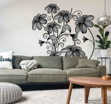 Seven Sketch Floral Decal