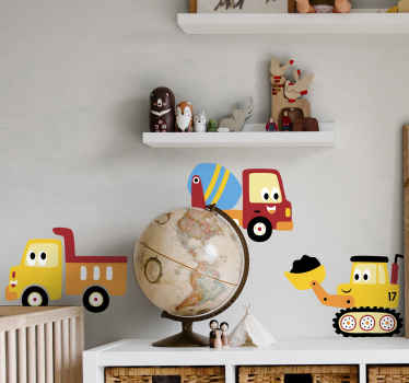 Do your child love heavy vehicle toys? if yes then this this decorative truck, digger, lorry toy sticker is just a perfect decoration for the bedroom.