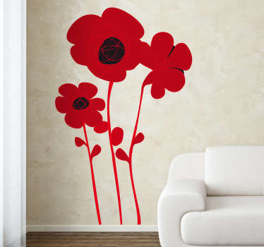 A design illustrating three red and black poppies from our fantastic collection of poppy wall stickers to decorate your living room! Add this to your wall at home and create a fantastic appearance and also give your favourite room at home an elegant appearance with this poppy decal.