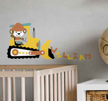 Illustrative personalized name tractor toy sticker design illustrating a little boy driving a small tractor with a front loader.