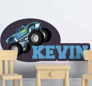 特におもちゃの車を愛する子供たちのために、あなたの若い部屋を美しくするためのなんて素敵な装飾的なモンスタートラックのウォールステッカー。