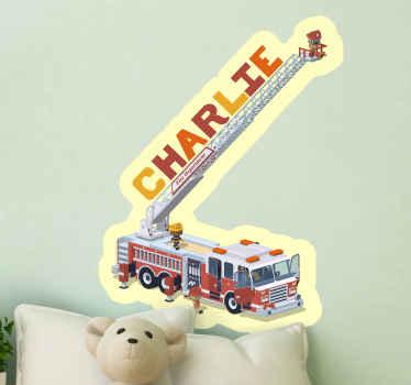 Autocollant de jouet personnalisable pour enfants pour enfants design illustrant un camion de lutte contre les incendies avec des pompiers en mission pour éteindre le feu.