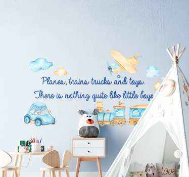 An toy illustration wall art decal for kids containing designs  of various  vehicles, plane, cloud, star and text. Easy to apply and adhesive.