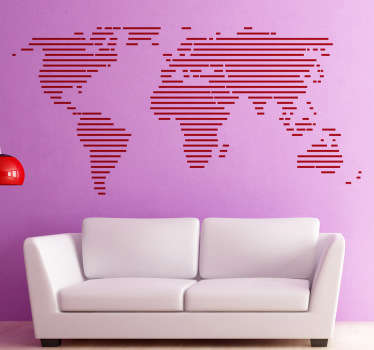 World map wall sticker ideal for decorating and personalising your bedroom, living room, teenager's bedroom or more. Minimalist modern design shows the continents of the world in a simple but awesome line pattern. Available in various colours.