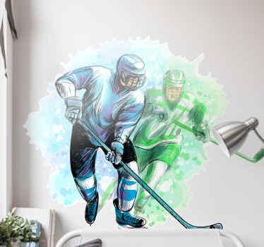 Divertido y colorido vinilo habitación juvenil de jugadores de hockey. El diseño ilustra a dos jugadores de hockey que compiten ¡Envío exprés!