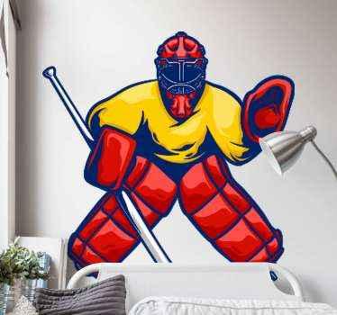 Vinilo habitación juvenil de jugador de hockey multicolor para que decores tu cuarto con tus propios gustos. Elige medidas ¡Envío exprés!