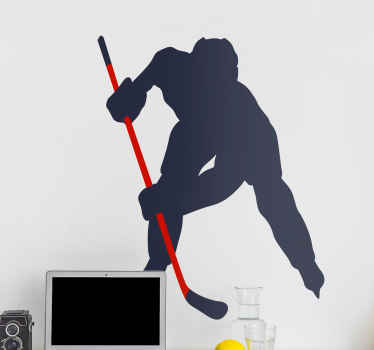 Un vinilo habitación juvenil de jugador de hockey sobre hielo para que decores tu casa con un diseño original ¡Envío exprés!