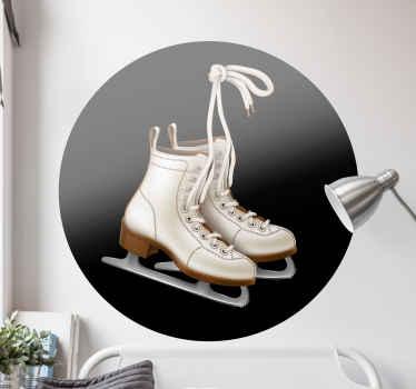 Vinilo habitación juvenil de patines de hockey sobre hielo ideal para darle a un dormitorio un ambiente de deporte de hockey divertido y activo
