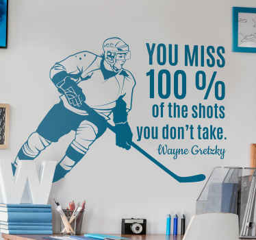 Motivation hockey quote wall sticker design containing a hockey player running with hockey stick, it is also inscribed with a powerful quote.