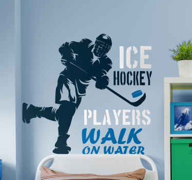 Ice hockey walk on water wall sticker to decorate any space of your choice. It is easy to apply, self adhesive and durable.
