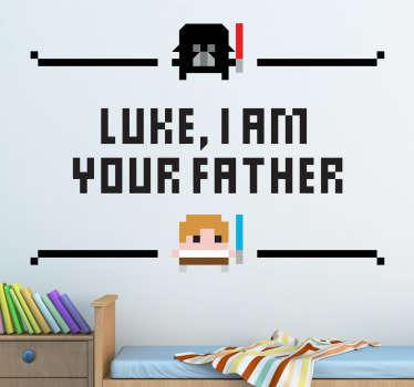 """Un sticker mural inspiré de la célèbre saga cinématographique Star Wars """"Luke, I am your father"""", le tout avec un style pixélisé."""