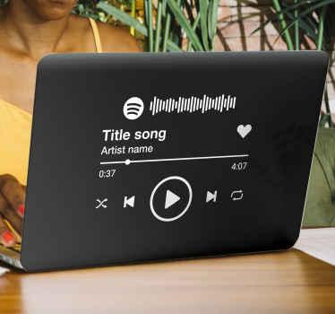 Spotify'da çalan en sevdiğiniz müziğin görüntüsü ile dizüstü bilgisayarınızı dekore edin. Tasarım, ikonik ekranı ve spotify'da çalan şarkıyı içerir.