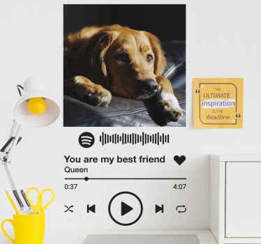 Kişiselleştirilmiş spotify müzik etiketi. Tasarım, kendi çalma müzik metniniz ve spotify'daki görselinizle özelleştirilebilir. Kolay uygulanır ve yapıştırılır.