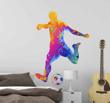 Football wall sticker which features a silhouette of a man kicking a football. The man is coloured in lots of bright colours.
