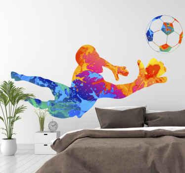 多くの色のゴールキーパーサッカー選手のシルエットが付いたステッカーは、簡単かつ迅速な方法でどの部屋の雰囲気も更新するのに理想的です。
