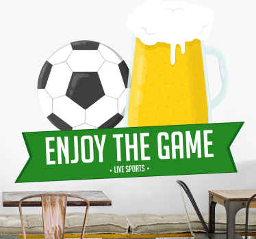 A great wall decal, perfect to decorate and invite the general public to enjoy a game of football with a glass of beer as illustrated in the design.