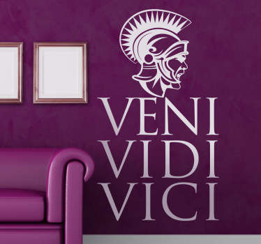 Decorative decal with the famous phrase in Latin by Julius Caesar. If you love the history behind ancient Rome then this Roman wall sticker is perfect for you.I