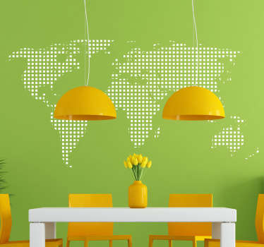 World map wall sticker different from the rest. Personalise your bedroom, living room, dining room and more with this subtle but timelessly stylish world map decal in the style of many dots making up the continents that make up the Earth.