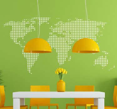 Sticker carte monde carrés