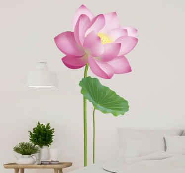 Vinilo de flor de loto rosa para salón o dormitorio. Hecho de material de vinilo de alta calidad. Puedes elegir cualquier tamaño ¡Envío a domicilio exprés!
