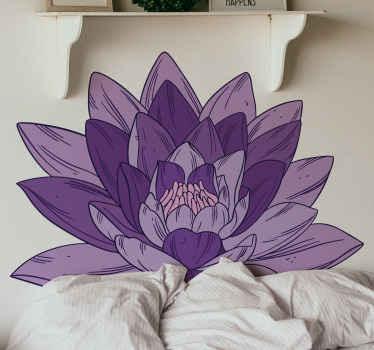 Vinilo de flor de loto violeta. Este diseño decorativo está fabricado con materiales de alta calidad y puedes personalizarlo en cualquier tamaño.