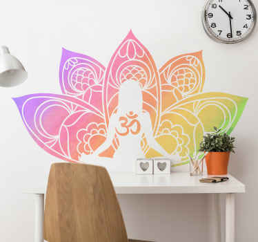 Wall sticker with yoga mandala. The pattern shows a yoga posistion on a background of a colorful mandala. Made of high quality material.