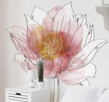 Vinilo de flor de loto de acuarela para decorar cualquier estancia. El patrón muestra un lirio blanco pintado en acuarela ¡Envío exprés!