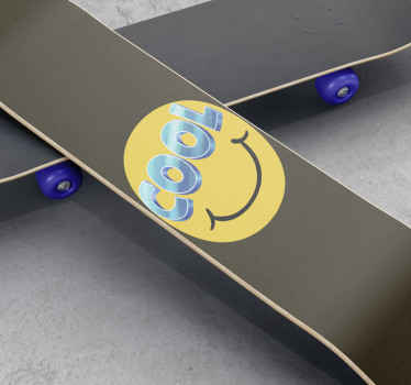 Skateboard sticker which features an image of a smiley face with the word 'cool' as the eyes. Anti-bubble vinyl. High quality.