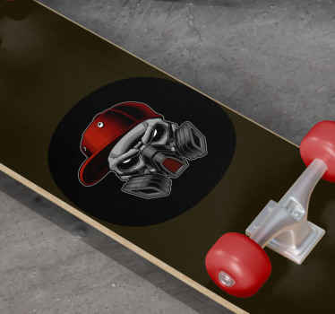 Vinyl sticker with the illustration of a protective mask in dark colors, perfect for you to customize your skateboard in an easy way.