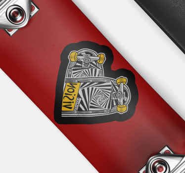Vinyl sticker with the illustration of a heart in zebra design is ideal for you to personalize your skateboard in an exclusive, easy and fast way.