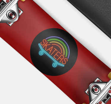 Sport sticker with the word skaters with the illusion of lights is perfect for you to renew your skateboard with a quality product and resistance.