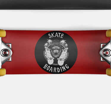 Skate stamp decor for walls. Circular black and white design. Gorilla with bennie and skateboards. Skateboarding caption. Palm tree background.