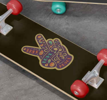 Skateboard vinyl sticker which features an image of a hand doing a peace sign, decorated in flowers and swirls. Choose your size.